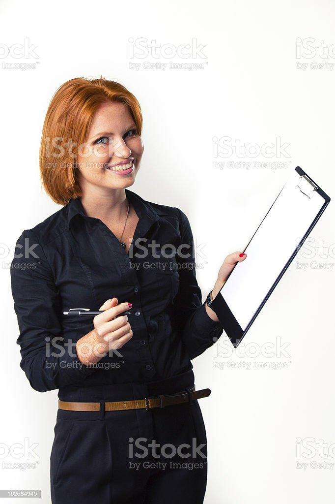 Junge Geschäftsfrau auf Weiß Lizenzfreies stock-foto