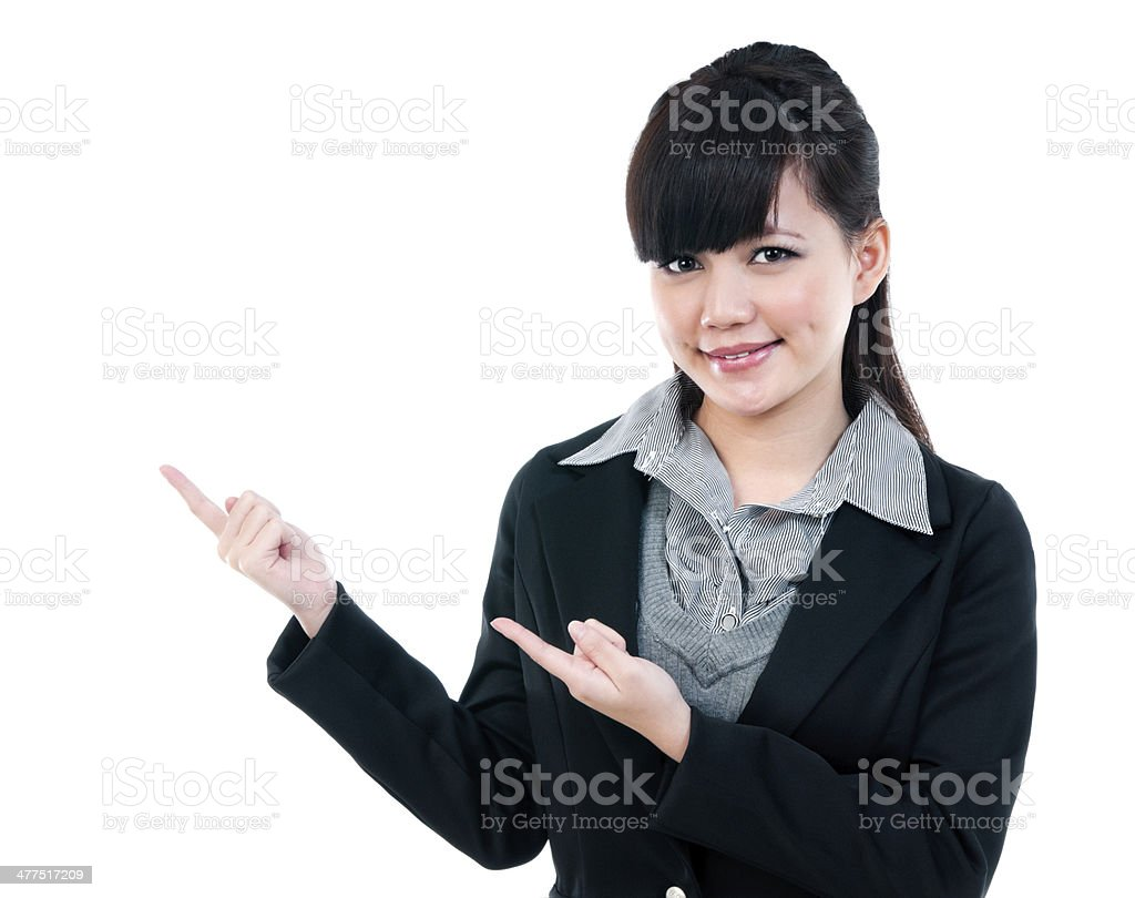Young Businesswoman Pointing stock photo