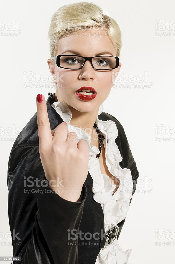 young businesswoman raises the forefinger threateningly stock photo
