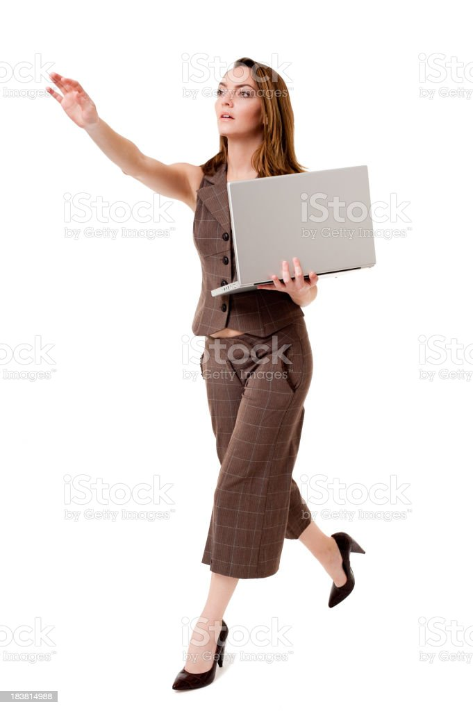 Young Businesswoman Running with Laptop Isolated on White Background stock photo