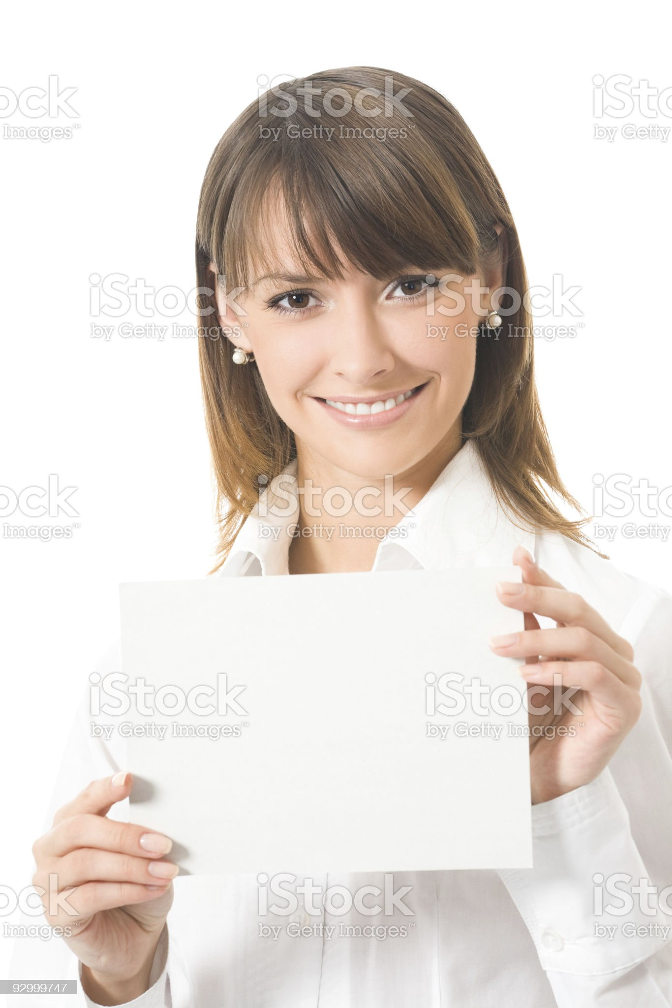 Young businesswoman showing signboard, isolated on white royalty-free stock photo