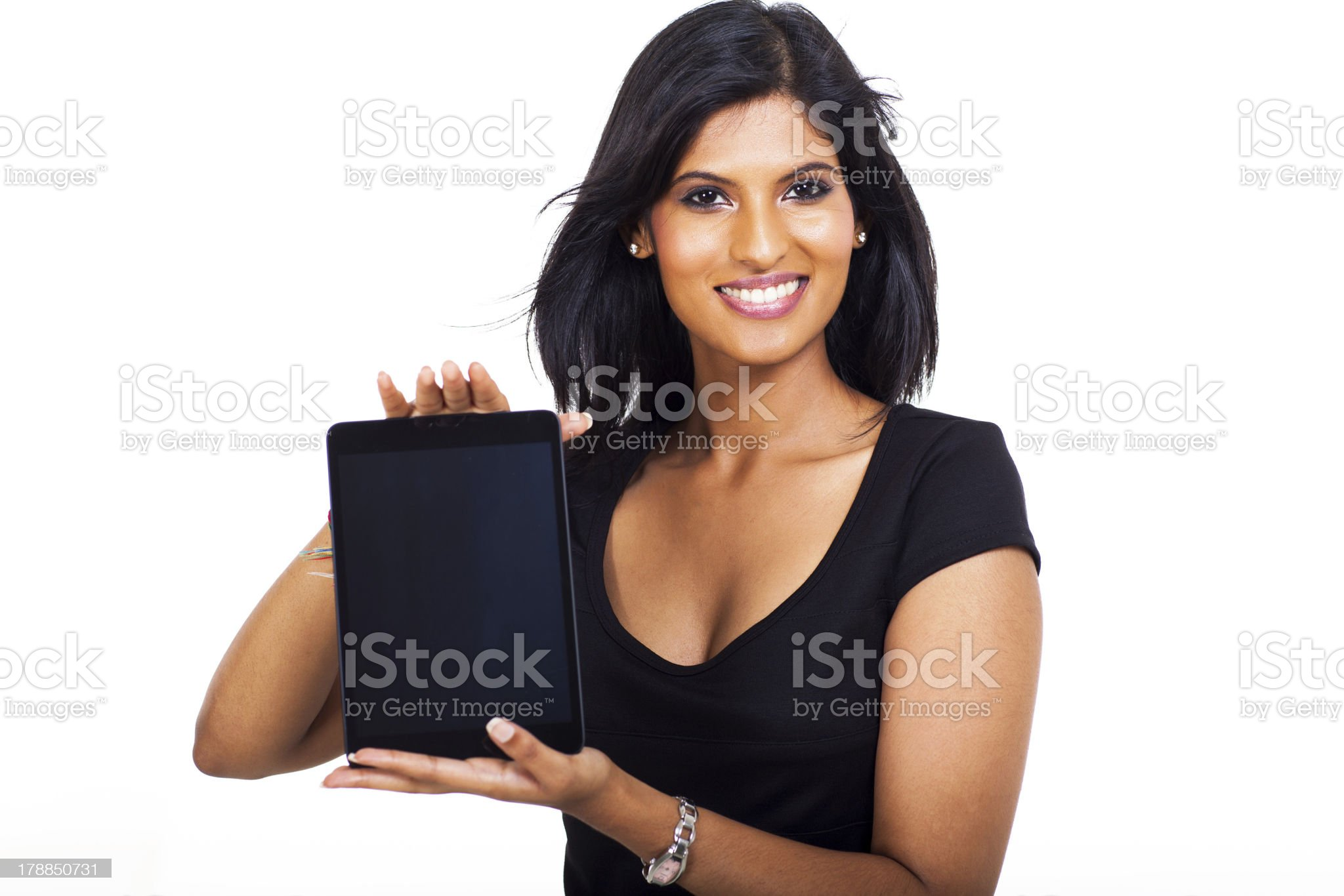 young businesswoman showing tablet computer royalty-free stock photo