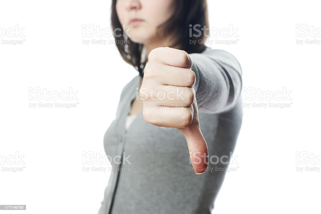 Young businesswoman shows the rejection sign stock photo