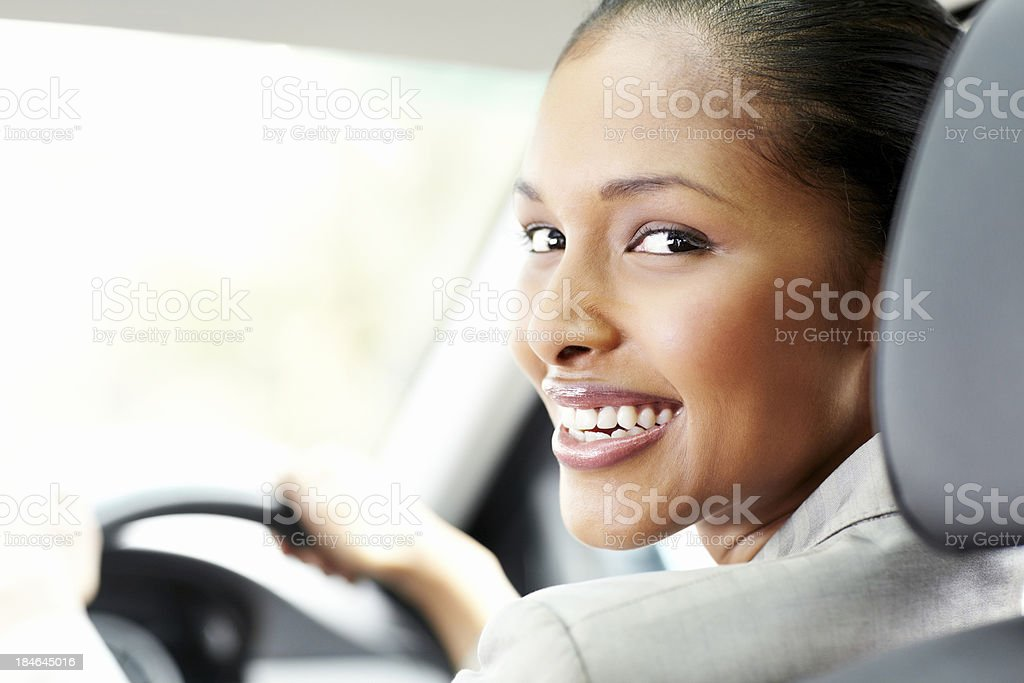 Young Businesswoman Smiling in the Car stock photo