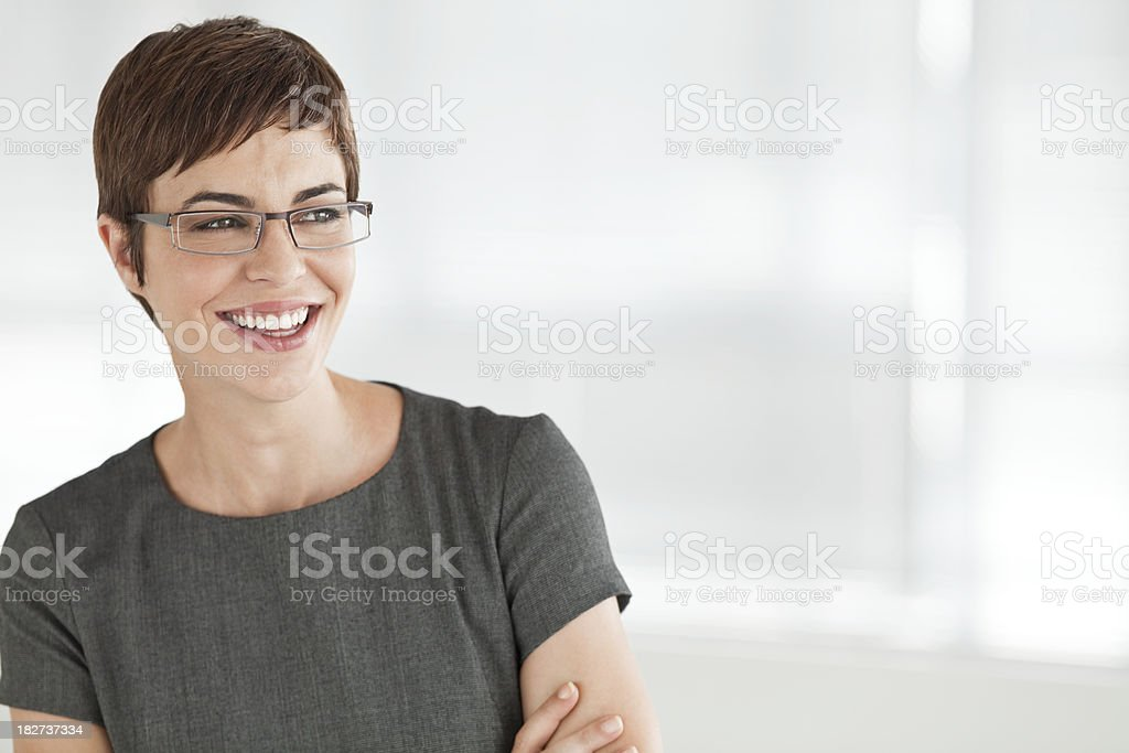 Young Businesswoman Smiling Wearing Glasses royalty-free stock photo