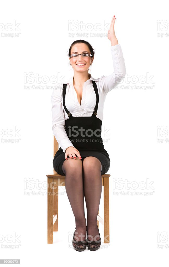 Young businesswoman stretching up hand royalty-free stock photo