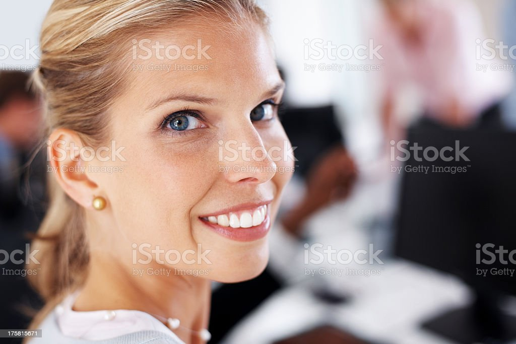 Young businesswoman taking a break from the work stock photo
