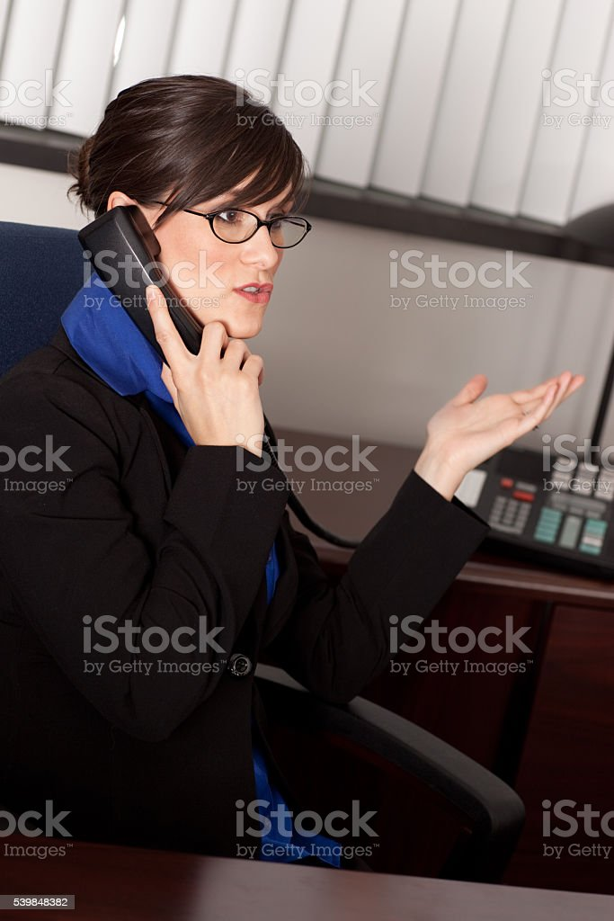 Young Businesswoman Talking on Phone at Desk in Office stock photo