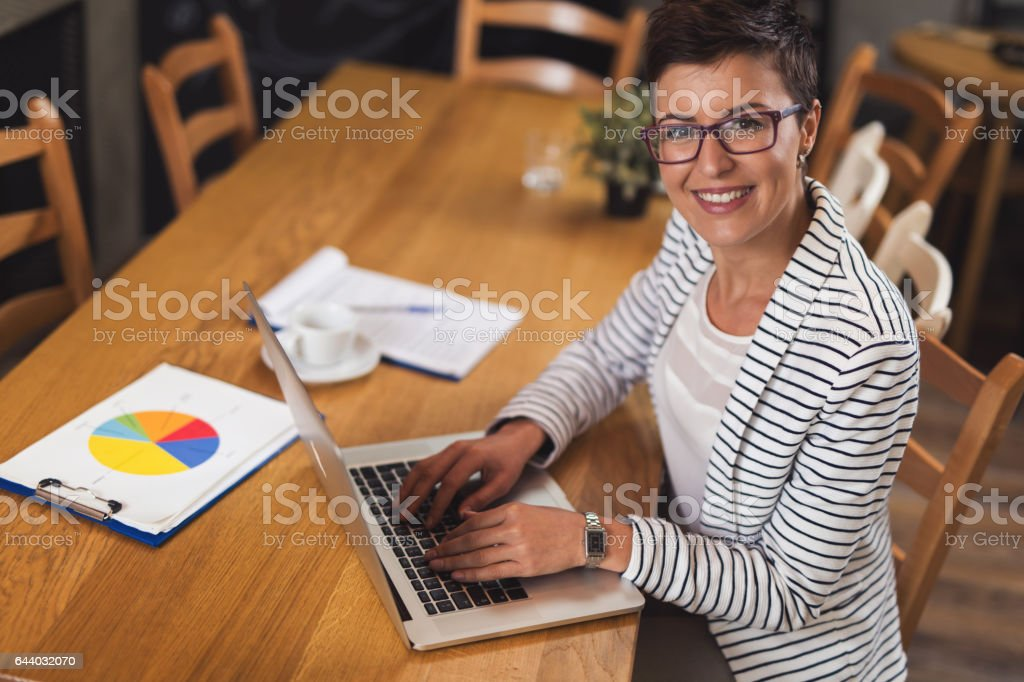 Young businesswoman using laptop in the office stock photo