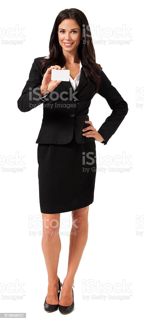 Young businesswoman with blank business card on white stock photo
