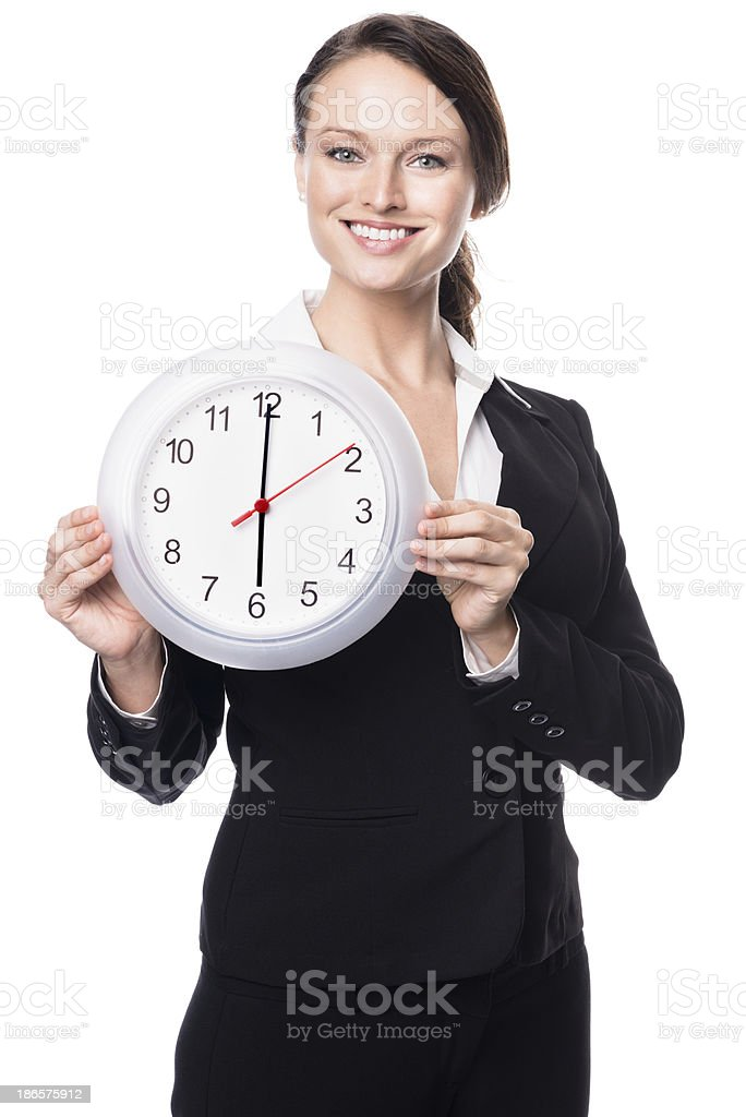 Young Businesswoman with Clock Isolated on White Background stock photo