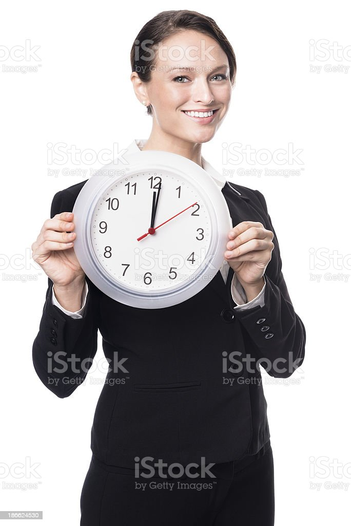 Young Businesswoman with Clock Isolated on White Background royalty-free stock photo