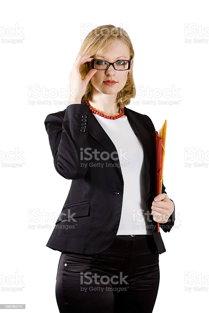 Young businesswoman with colored folders stock photo