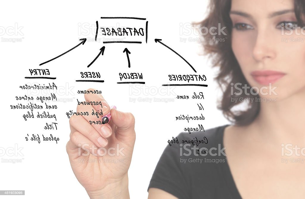 Young Businesswoman with Database Structure royalty-free stock photo