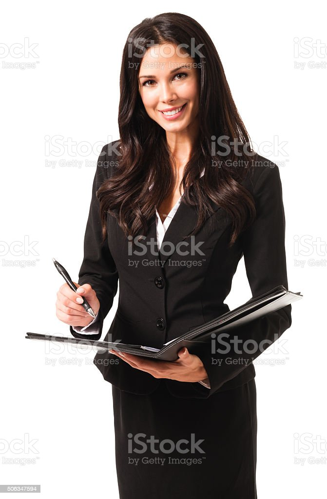Young Businesswoman with day planner Folio on White stock photo