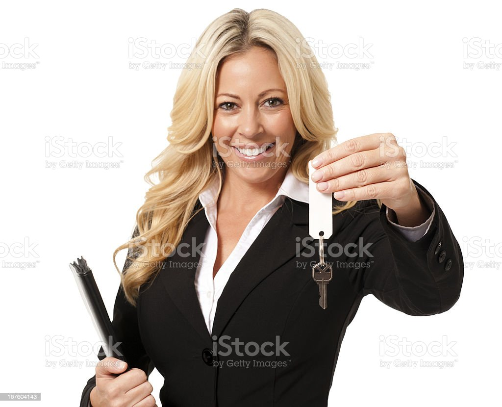 Young Businesswoman with Folio and Keys Isolated on White Background stock photo