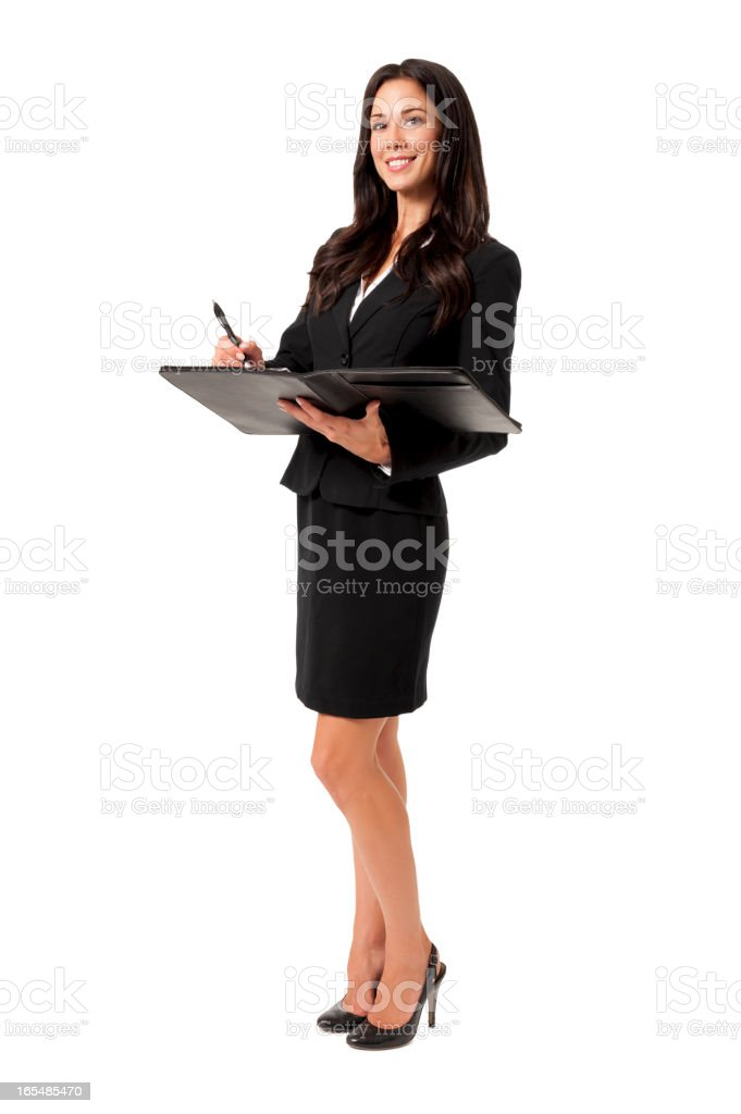 Young Businesswoman with Folio Isolated on White Background stock photo