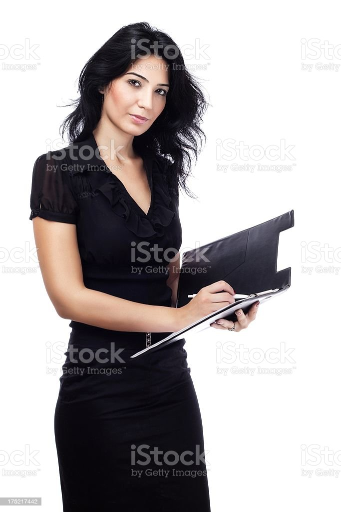 Young Businesswoman with Folio on White royalty-free stock photo