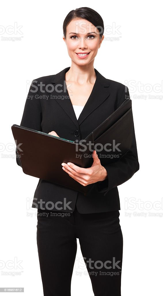 Young Businesswoman with Folio on White stock photo