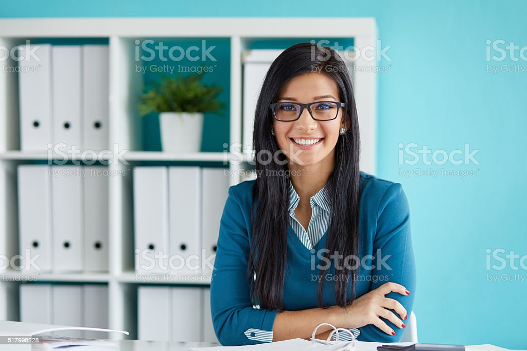 Young businesswoman with glasses stock photo