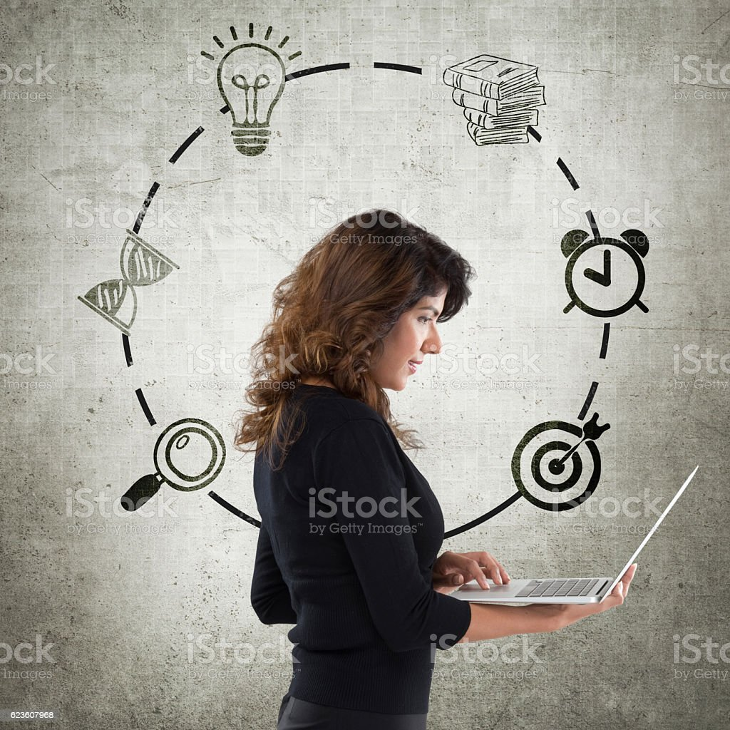 Young businesswoman with Infographic icons stock photo