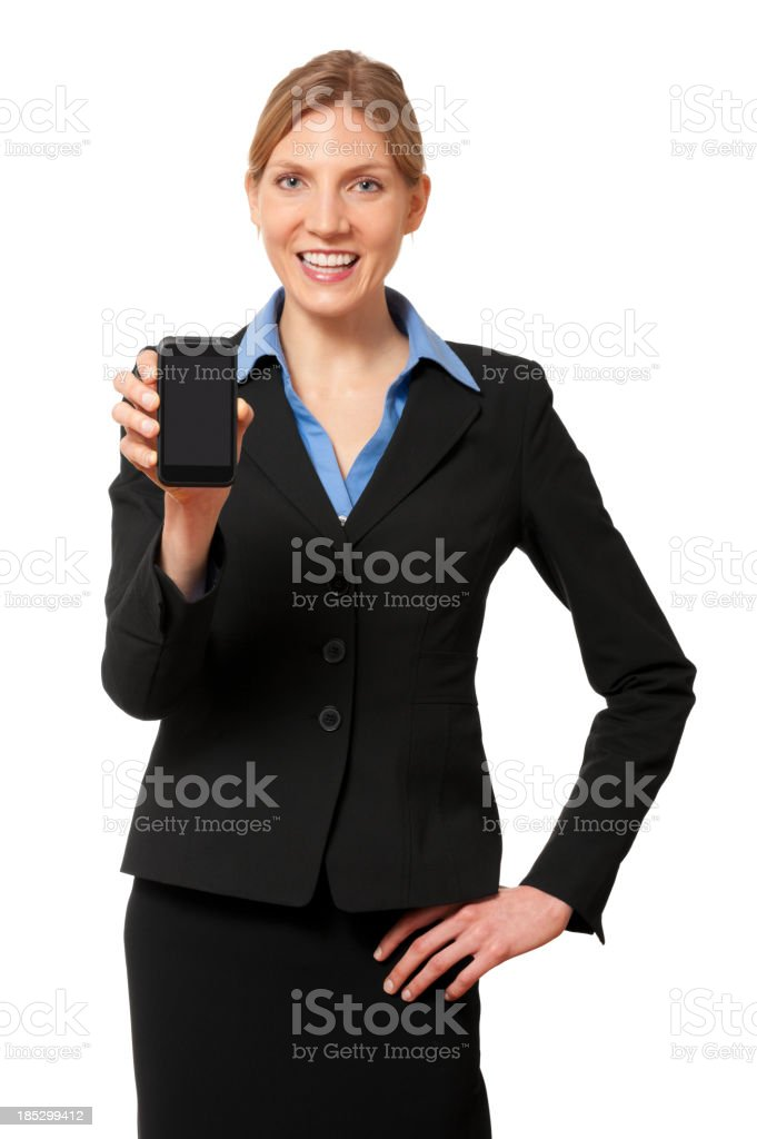 Young Businesswoman with Smart Phone Isolated on White Background stock photo