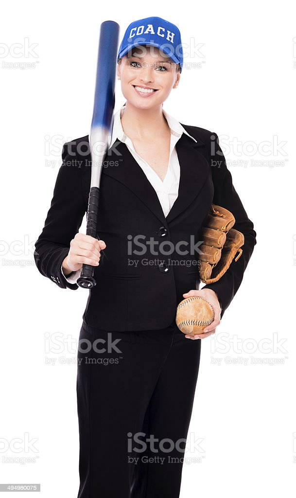 Young Businesswoman With Softball and Bat Isolated on White Background stock photo