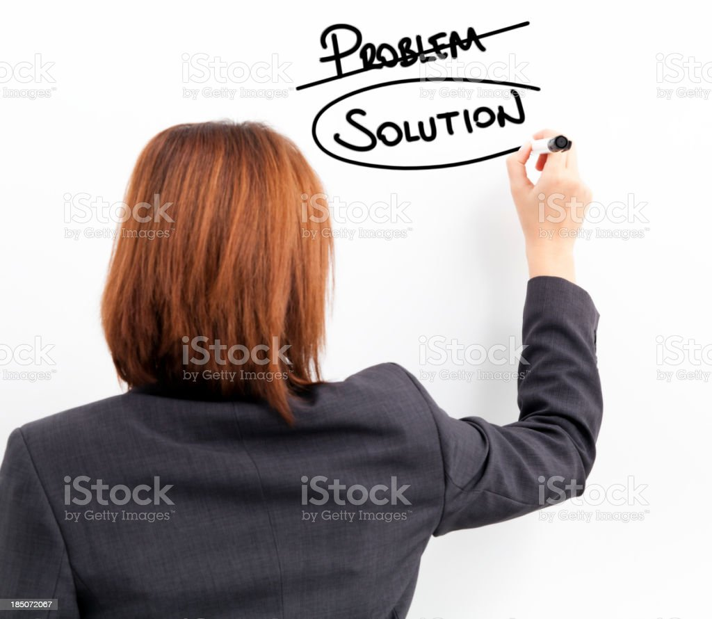 Young businesswoman writing concept on the whiteboard royalty-free stock photo