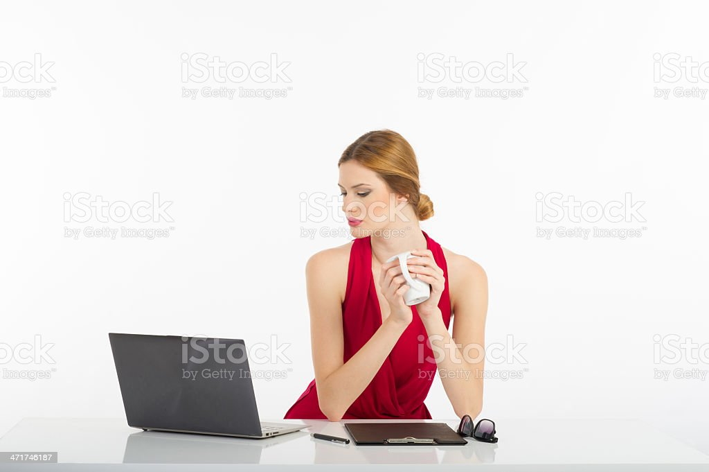 Young Businesswomen Looking to Computer royalty-free stock photo
