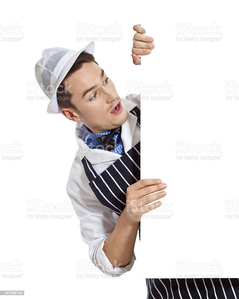 Young Butcher with Whiteboard royalty-free stock photo