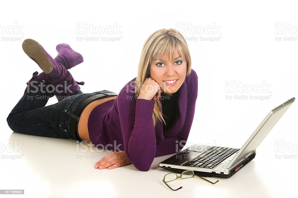 Young casual girl with a laptop stock photo
