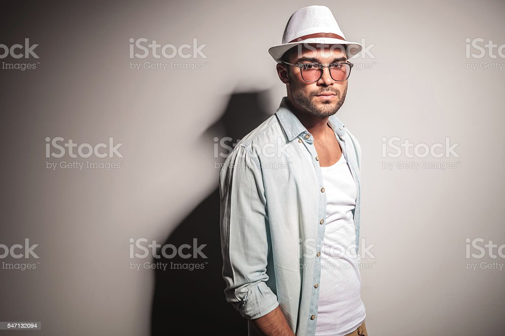 young casual man wearing a jeans shirt stock photo