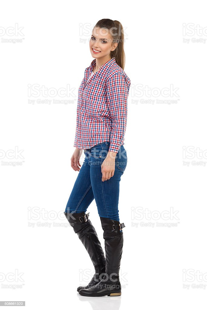 Young Casual Woman Side View stock photo