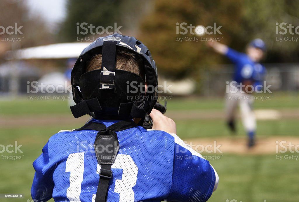 Young catcher and pitcher royalty-free stock photo