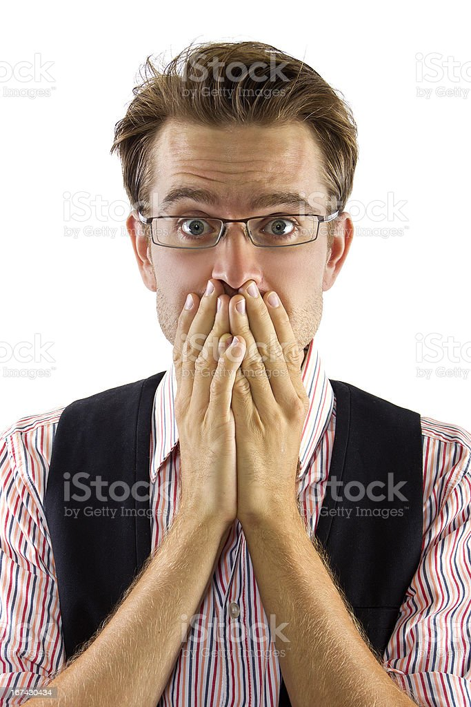 Young Caucasian Businessman Shocked royalty-free stock photo