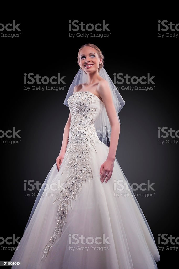 Young Caucasian Female Lady in Tailored Wedding Dress stock photo