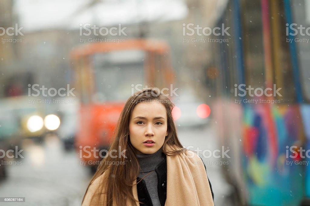 Young caucasian girl model walking at street of lviv ukraine stock photo