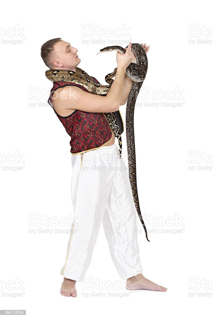 Young Caucasian man with snakes royalty-free stock photo