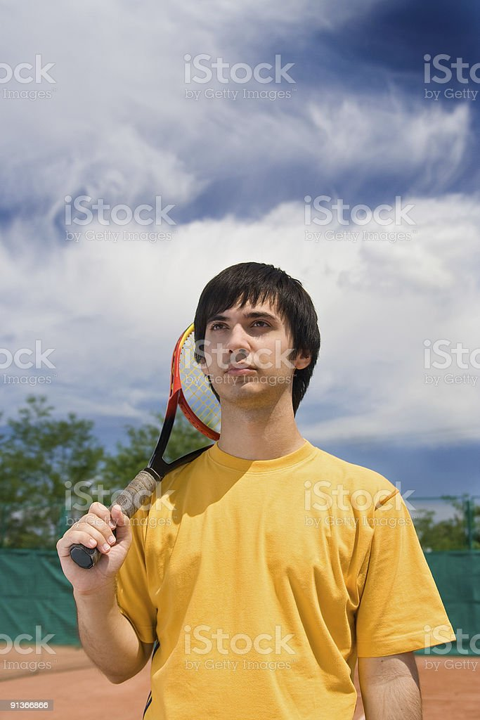 young caucasian tennis player - series royalty-free stock photo
