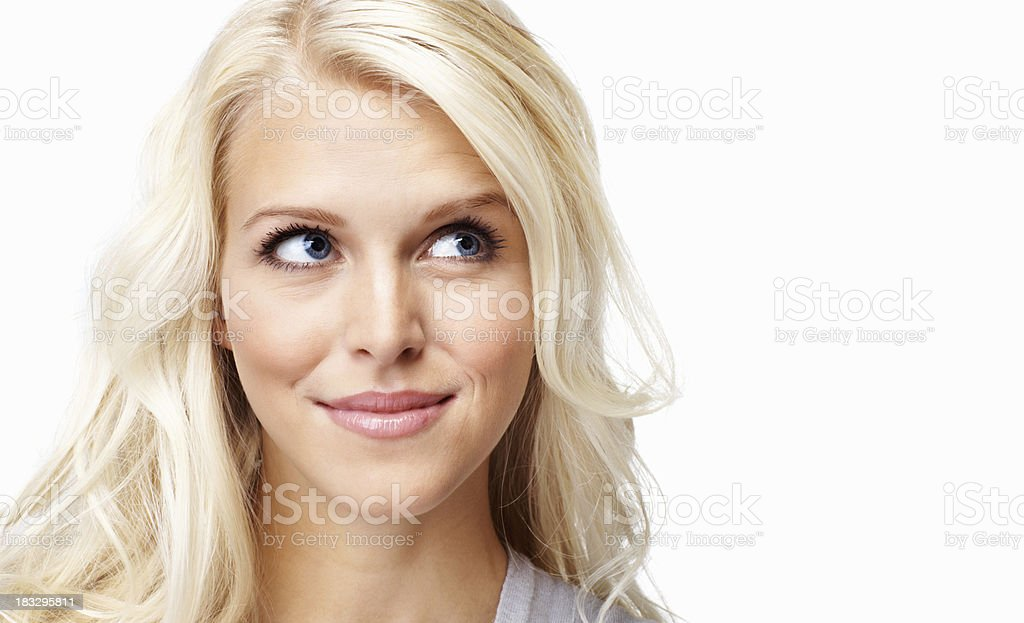 Young, Caucasian woman against white background - copyspace royalty-free stock photo