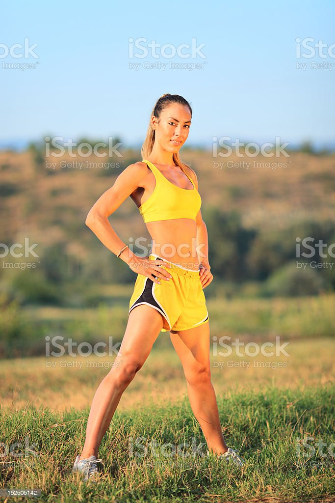 Young Caucasian woman exercising royalty-free stock photo