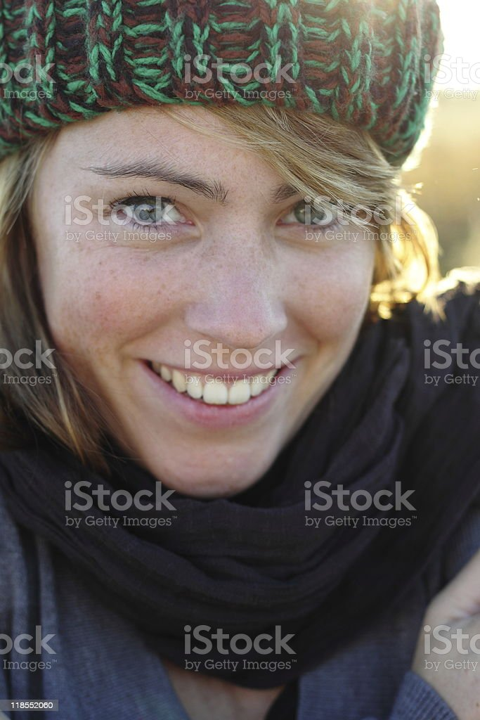 young caucasian woman smiling stock photo