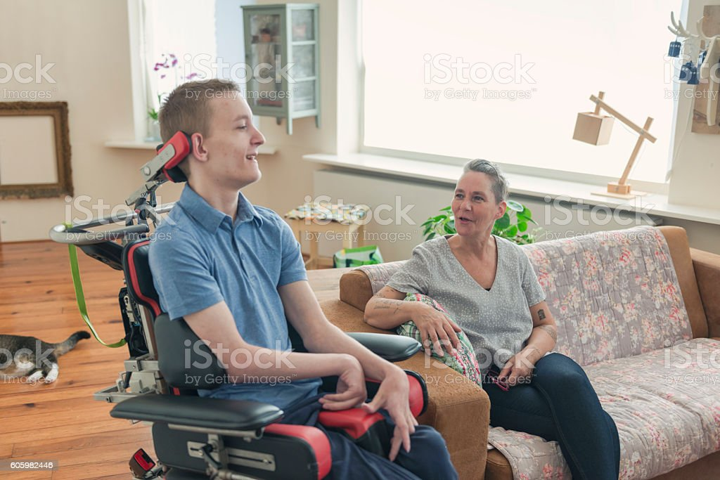 Young cerebral palsy patient stock photo