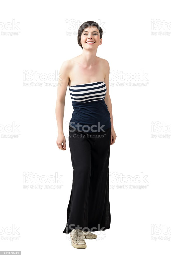 Young charming short hair beauty in off-the-shoulder top smiling stock photo