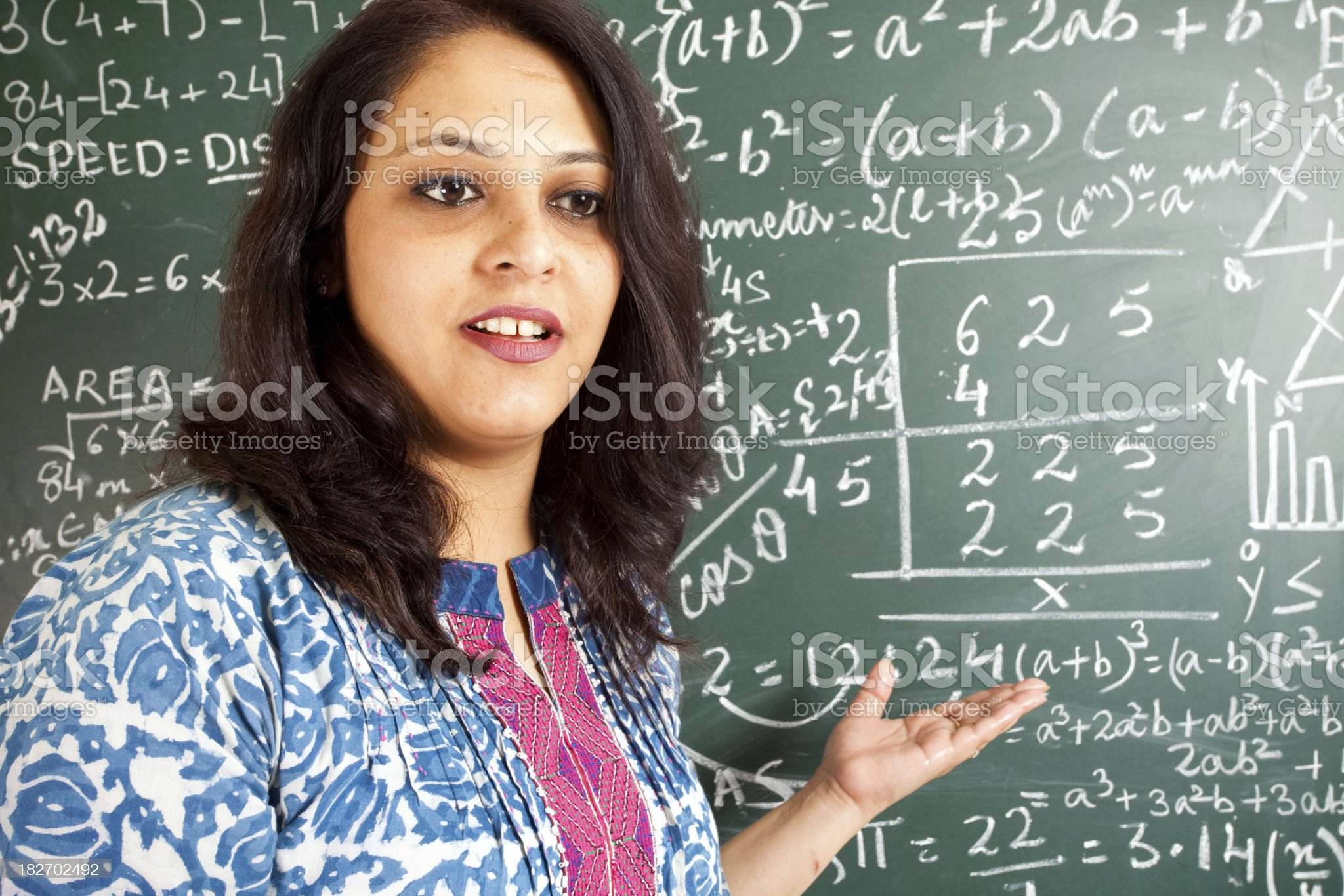 Young Cheerful Indian Mathematics Teacher in a Classroom royalty-free stock photo