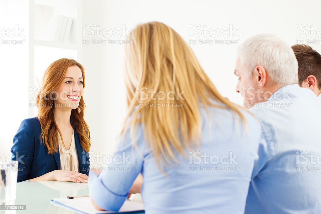 Young Cheerful Woman Having Job Interview. royalty-free stock photo