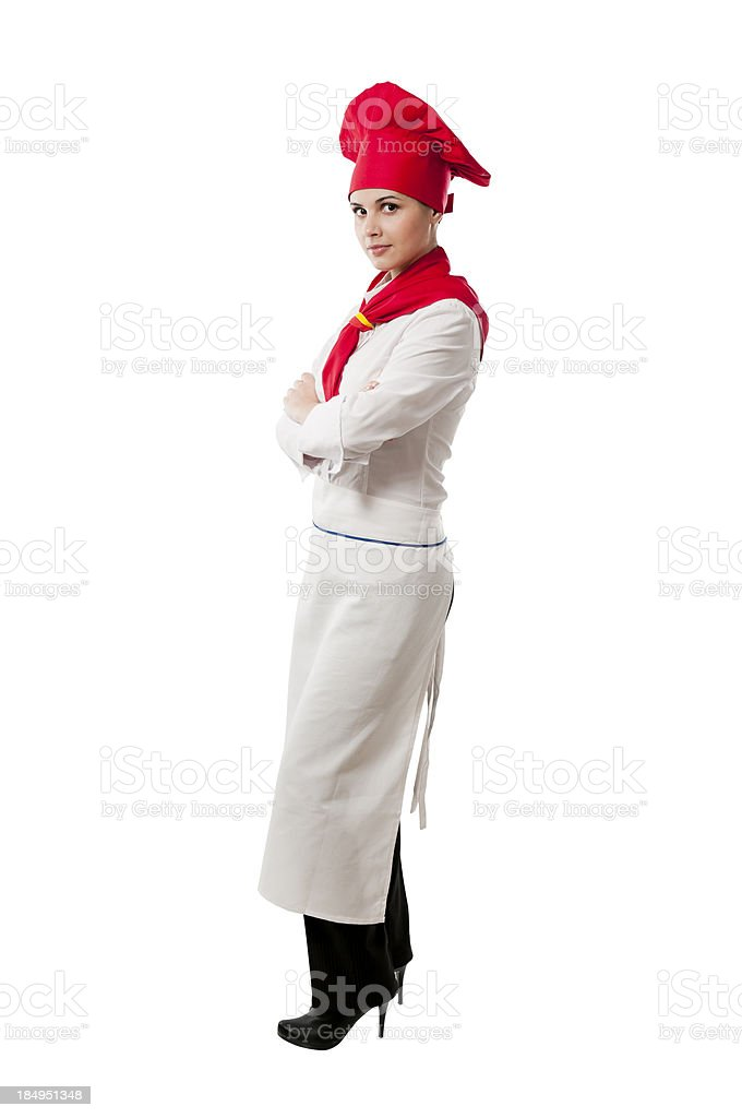 Young chef looking at the camera, isolated on white stock photo