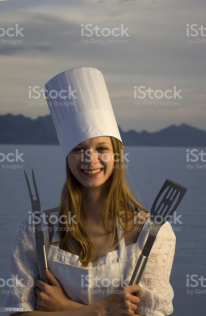 young chef woman stock photo