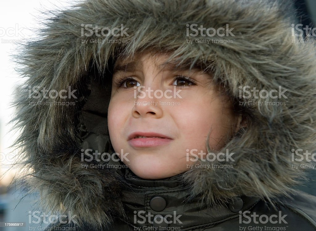 young child in cold winter royalty-free stock photo