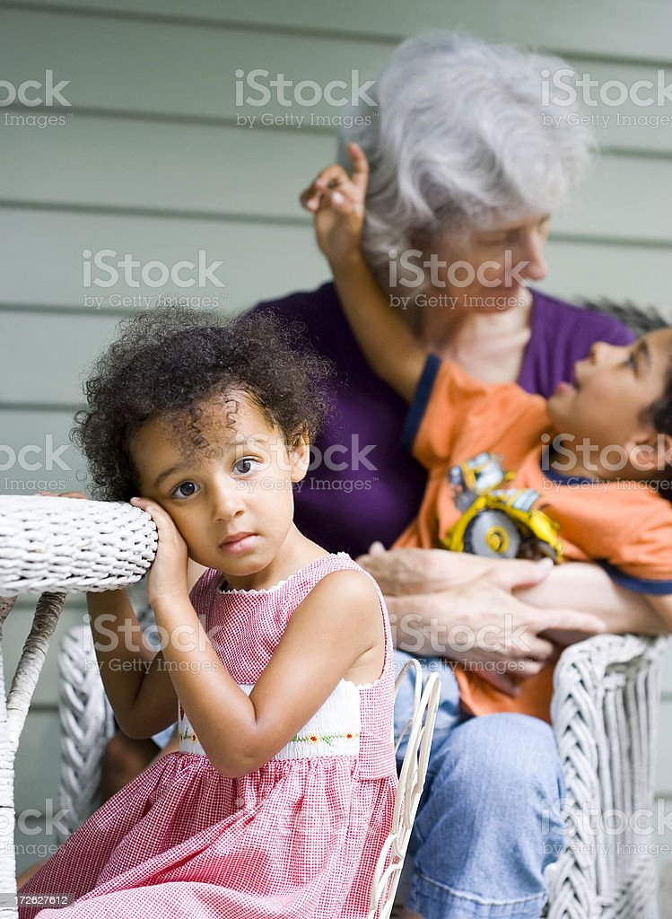 Young child in contemplation royalty-free stock photo